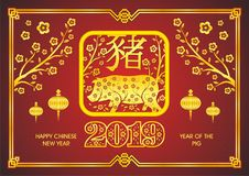 Year Of the pig - 2019 chinese new year. Vector illustration design, with golden and red color Stock Images