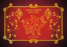 Year Of the pig - 2019 chinese new year. Vector illustration text design, Hand Drawn Pig,  Lantern, Flower and other ornament with golden and red color Stock Photography