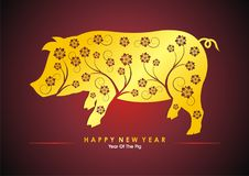 Year Of the pig - 2019 chinese new year. Vector illustration text design, with golden and red color Royalty Free Stock Photography
