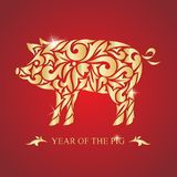 The year of the pig. Happy new year. Vector illustration. Image of a golden pig on a red background. The year of the pig. new year. Vector illustration. Image Stock Photo