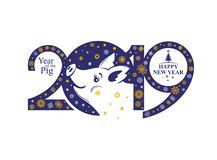 New Years pattern 2019 and funny pig boar and snowflakes. Year of the Pig 2019. New Years pattern 2019 and funny pig boar and snowflakes. Vector template New royalty free illustration