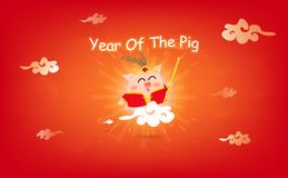 Year of the pig, pig riding sky, Sun rising, Chinese new year, 2019, cartoon characters celebration festival abstract background stock illustration