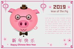 Year of the pig vector illustration. Happy Chinese New Year 2019 year of the pig cartoon style. Chinese characters mean Happy New Year, wealthy, Zodiac sign for stock illustration