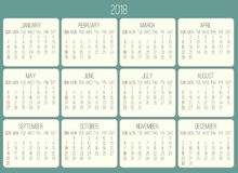 Year 2018 monthly calendar. Year 2018 plain contemporary vector monthly calendar. Week starting from Sunday. Beige rounded rectangle over teal green background stock illustration