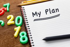 2018 plan. Year plan as memo on notebook with numbers of 2018 Stock Images
