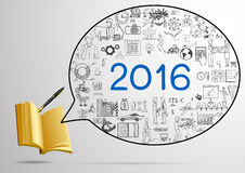 Year plan for 2016 doodles with 3d notebook and fountain pen Royalty Free Stock Photography