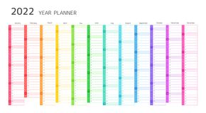 Free Year Planner, 2022 Calendar Stock Images - 217798634