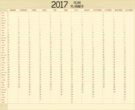 Year 2017 Planner. An annual planner calendar for the year 2017. A custom handwritten style is used Stock Images