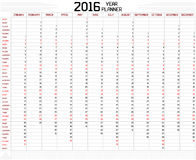 Year 2016 Planner. An annual planner calendar for the year 2016 on white. A custom straight lines thick font is used stock illustration