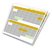 Year planner Calendar. 2D digital art Royalty Free Stock Photo