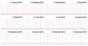 Year 2018 planner calendar vector illustration Stock Images