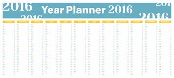 Year Planner 2016. Year Planner for dates, events and reminders vector illustration