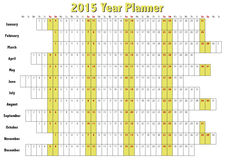 2015 Year Planner. In english. Annual Calendar for year 2015 Royalty Free Stock Photos