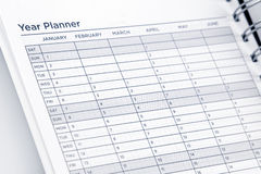 Year planner. Page in diary Stock Images
