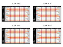 Year Planner Wall Charts Stock Photos