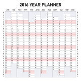 2016 year planner. Week starts Monday Royalty Free Stock Images