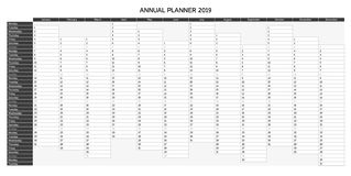 Year planning calendar for 2019 in English - Annual planner 2019, greyscale variant. Year planning calendar for 2019 in English - Annual Planner 2019; Sundays royalty free illustration