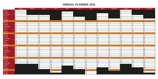 Annual Planner calendar for 2018 in English, starts with Monday Stock Photos