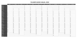 Year planning calendar for 2019 in Spanish - Planificador anual royalty free illustration