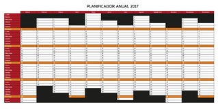 Year planning calendar for 2017 in Spanish - Planificador anual. 2017; Sundays are highlighted, rest of days is white Stock Photography