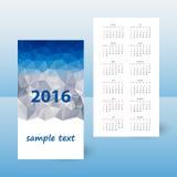 Year pocket calendar 2016 - blue polygonal triangular design - mountains. Year pocket calendar 2016 - blue polygonal triangular design - week starts sunday Stock Photography