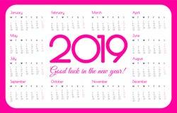 2019 year pocket calendar. Pink color, simple design. Week starts on Monday. Vector illustration stock illustration