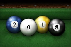 Year 2018 Pool Balls On Table Stock Images