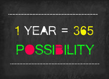 1 year = 365 possibility word. On blackboard Stock Photography