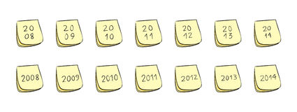 Year Post-It Notes. Post-It Notes With Handwritten Numbers (Years 2008 through 2014 Royalty Free Stock Image