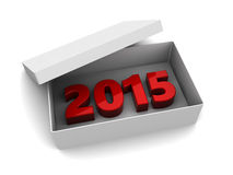 2015 year present. 3d illustration of white box with 2015 year sign inside Stock Photos