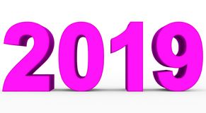 Year 2019 purple 3d numbers isolated on white. 3d rendering stock illustration