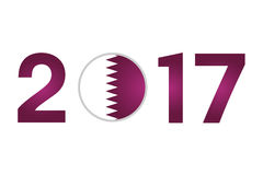 Year 2017 with Qatar Flag Stock Image