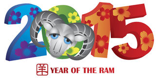 2015 Year of the Ram Colorful Numerals. 2015 Chinese New Year of the Ram Colorful Numbers Isolated on White Background with Goat Text Symbol Stock Photos