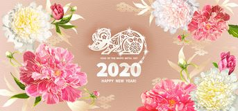 2020 Year of the RAT. White Metal Rat is a symbol of the 2020 Chinese New Year. Greeting card in Oriental style with peonies flowers, leaves, buds, decorative royalty free illustration