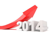 Year 2014 - red arrow growth. 3d render illustration of a red arrow bending upwards over a 2014 object Stock Photo