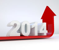 Year 2014 - red arrow growth. 3d render illustration of a red arrow bending upwards below a 2014 object Royalty Free Stock Photo