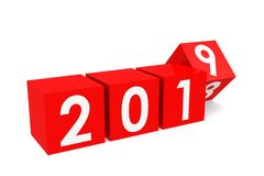 Year 2019 on the red cubes. Isolated on white, 3D rendering Royalty Free Stock Images