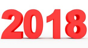 Year 2018 red 3d numbers isolated on white. 3d rendering Stock Image