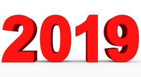 Year 2019 red 3d numbers isolated on white. 3d rendering vector illustration