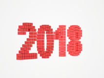 Year red design 3d render 2018. On white background Stock Photo