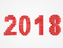 Year red design 3d render 2018. On white background Royalty Free Stock Photos