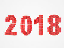 Year red design 3d render 2018. On white background Stock Photography