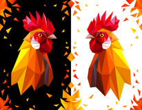 Year of red fiery cock. Bright postcard with a head rooster on white and black background. Red fiery cock symbol of New Year 2017. Polygonal Geometric Triangle Royalty Free Stock Image
