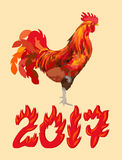 2017 Year of the Red Fire Cock. New Year red fire cock with 2017, vector illustration Stock Images