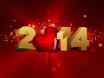 2014 year. 2014 with red heart - greeting card Royalty Free Stock Photo