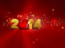 2014 year. 2014 with red heart - greeting card royalty free illustration