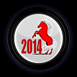 2014 year. 2014, a red horse on racks in a circle on a black background Royalty Free Stock Photos