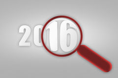 Year 2016 and red magnifying glass. 2016 under a magnifying glass. An image of a magnifying glass and number 2016 vector illustration