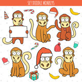 Year of red monkey. Doodle set monkeys. Chinese horoscope Royalty Free Stock Image