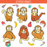 Year of red monkey. Doodle set monkeys. Chinese horoscope Royalty Free Stock Photo